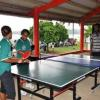 Netballer Huri gets tips from Table-Tennis Golden Girl Lulu