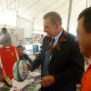 President Rogge recieves a rugby ball from the Tonga Rugby Association