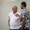 Matai Akauola converses with Arjay from Communications Fiji Ltd